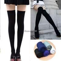 Ladies Womens Plain Over The Knee Black Grey Socks School Thigh High Stockings