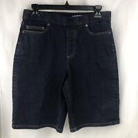 Lands End Womens Size 10 Petite Pull-on Bermuda Shorts Stretch Dark Denim
