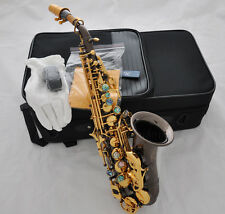 Professional curved soprano sax saxophone High F# abalone keys  Engraving W case