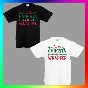 Gangsta Wrapper TShirt T-Shirt Tee Kid Children Xmas Christmas Gangster Hiphop