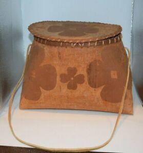 Large Etched Native American Great Lakes Birch Bark Rice Storage Basket Makuk