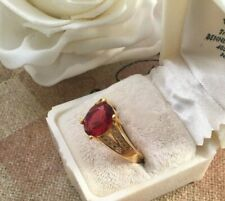 Vintage Jewellery Gold Ring with Ruby White Sapphires Antique Deco Jewelry 9 S