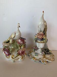 Beautiful Pair Vintage Royal Crown Derby Porcelain Peacock Figurines