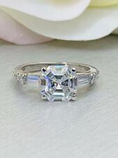 Lab-Created 2.75 Carat Moissanite Asscher Cut Women's 925 Silver Engagement Ring