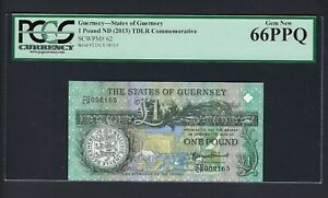 Guernsey 1 Pound ND (2013) TDLR Commemorative P62 Uncirculated Grade 66