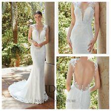 Sexy Vintage Crepe Brautkleid Hochzeitskleid Mermaid Ivory Rückenfrei Perlen NEW
