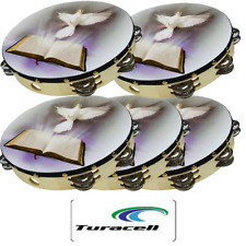 "5 Tambourine Row Jingle Percussion Instrument for Church 10"" Dove Bible Musical"