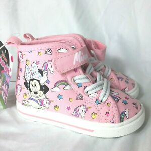 Disney Minnie Mouse High Top Girls Shoes Size 6 Pink Unicorns Rainbows NWT