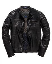 New Men's Idris Elba + Superdry Leading Leather Biker Jacket Size M