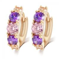 Fashion Sparkle 18K Gold Filled CZ Sapphire Ear Stud Earrings Hoop Women Jewelry