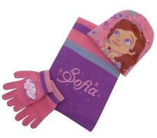 Disney Frozen Sofia Infants 3 Piece Set Beanie Hat Scarf and Gloves Purple