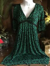 Suzi Chin V Neck Empire 3/4 Sleeve Party Dress Sz 4 Green Black A Line Stunning