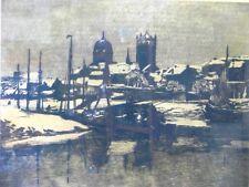 Max Clarenbach inverno domani grande acquaforte del 1919 firmato datato + + dedica