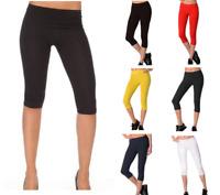 Ladies Short Pants Capri Cropped Leggings Cycle Bike Fitness Activewear Run||>