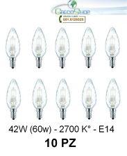 10 Lampada/Lampadina alogena a risparmio ener. 42W (60W) E14 Tortiglione Cilvani