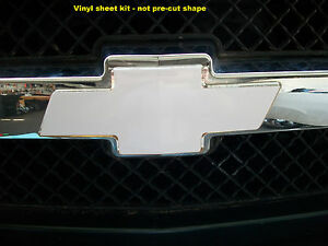 WHITE Vinyl Sheets (2) Wrap Chevy Universal Bowtie Emblem Overlay Cover Decals