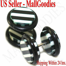1271 Fake Cheater Illusion Faux Ear Plugs Black White Stripes Parttern 00G 10mm