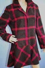 Marks & Spencer Grey & Pink Check Wool Blend Mid Length Jacket Coat Size 16
