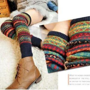 Women Ladies Over The Knee Socks Chunky Seg Slouch Striped Boho Leg Warmers UK