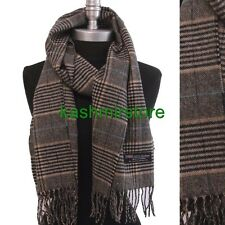 Men's 100% CASHMERE SCARF MADE IN SCOTLAND PLAID Check SOFT Color Camel/black