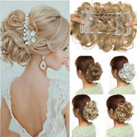 Real THICK Curly Chignon Messy Bun Updo Clip in Hair Piece Extensions