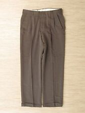 Haggar Collection Green Rayon Dress Pants Men's Size 36x32 Pleated Cuffed