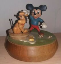 1971 Italian Anri Mickey Mouse & Pluto Wooden Carved Music Box (Swiss Musical)