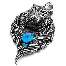 MENDINO Men's Stainless Steel Pendant Chain Necklace Wolf Head Biker Silver Blue