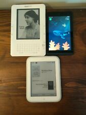 Lot Of 3 Kindle Barnes and Nobles Tablet e-book Readers Mixed Tested