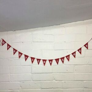 Red & White Merry Christmas Xmas Felt Garland Bunting Hanging Decoration Banner