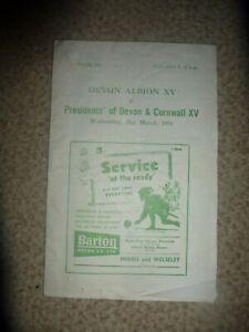 Rugby Union Devon Albion XV v's Presidents Of Devon & Cornwall XV Programme 1954