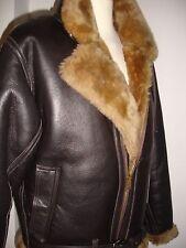 Men's Real Sheepskin pilot (Aviator) jacket, Hand made, Brown/Ginger