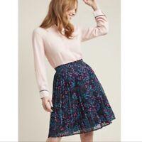 ModCloth Navy Purple Floral Pleated Midi Skirt Size M