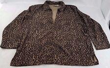 Classic Elements Women's Leopard Animal Print Lightweight Zip Up Coat Jacket 1X