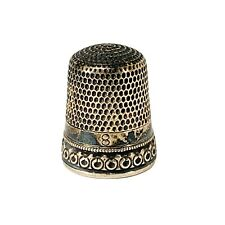 Antique Sterling Silver Thimble with Repousse Border by Simons Brothers Size 8