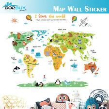 Wall Stickers Removable World Animals Map Living Room Decal Picture Art Kids B