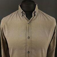 HUGO BOSS Mens Light Summer Shirt LARGE Long Sleeve Brown SLIM FIT Abstract