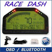 Dash Race Display - OBD2 Bluetooth, Dashboard LCD Screen; Gauge Rally Motec AIM