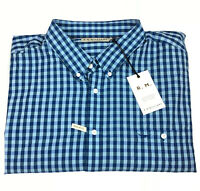 RM Williams Mens Collins Long Sleeve Button Up Shirt Blue Check Size 3XB NEW