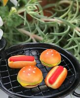 Miniature Dollhouse FAIRY GARDEN Accessories ~ 2 Hamburgers and 2 Hot Dogs ~ NEW