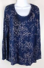 Vera Wang Women's Shirt 1X Loose Fitting Taupe Print on Blue SOFT FABRIC