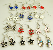 5pairs new mix plated Silver painting alloy charm fashion earrings a189