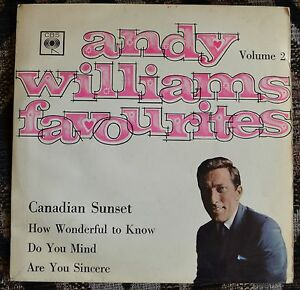 """Andy Williams – Andy Williams Favourites Vol.2 7"""" EP – EP 6055 – VG"""