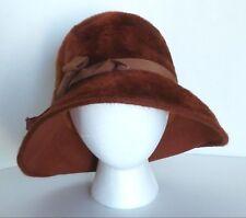 Vintage The Emporium Burnt Brown Fuzzy Women's Brim Hat Made in Italy