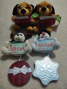 Lot of 6 New Christmas Gift Card Holders 2 Tins 4 Stuffed Animals 2 are Musical