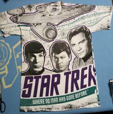 VTG STAR TREK SPOCK CAPTAIN KIRK 1992 All over print Shirt 90s aop mens small