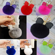 Real Fur Pom-pom Key Chain Bag Charm Fluffy Puff Ball Bow Key Ring Car Pendant z