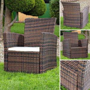 Lounge Sessel aus Poly Rattan Garten Terrassen Sessel Gartenstuhl Braun