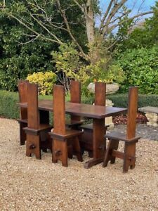 Arts & Crafts Oak Refectory Table & Chairs Circa 1950