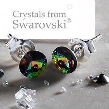 STERLING SILVER STUD EARRINGS *VITRAIL MEDIUM* (GREEN) CRYSTALS FROM SWAROVSKI®